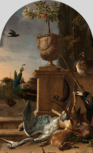 RIJKS: Melchior d' Hondecoeter: A Hunter's Bag on a Terrace 1678