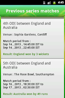 Screenshot of Cricket live score App