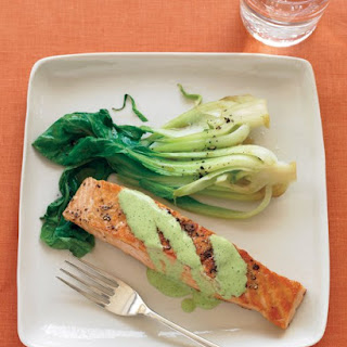 Salmon with Wasabi Sauce and Baby Bok Choy