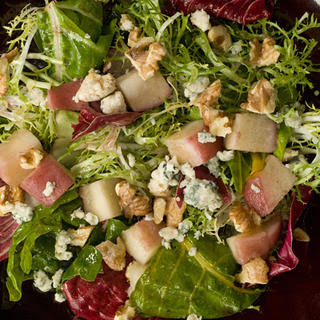 Poached Pear and Blue Cheese Salad