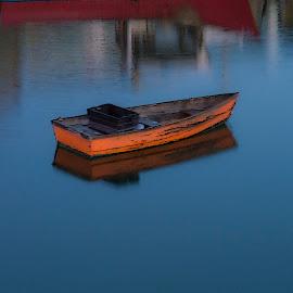 Orange Pram Rockport Harbor by David Stone - Transportation Boats ( water, orange, harbor, coastal scene, pram, rowboat, rockport )