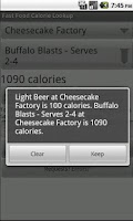 Screenshot of Fast Food Calorie Lookup