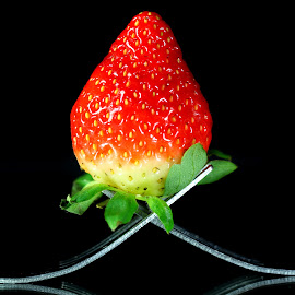 by Dipali S - Food & Drink Fruits & Vegetables ( fork, fruit, red, food, cutlery, strawberry )