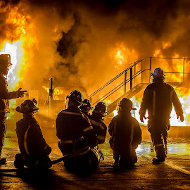 Brave Men by Daniel Craig Johnson - News & Events Disasters ( firefighter, flames, news, herons, firefighters, emergency, action, smoke, fire, newspaper )