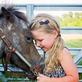 Pony Whispers by Thea Joy - Babies & Children Children Candids ( love, animals, pony, girl, horses, conversation, children, kisses, country )