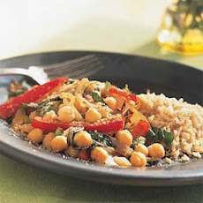 Chickpea, Red Pepper, and Basil Sauté