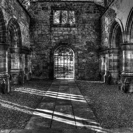 In Shadows. by Bob Dick - Buildings & Architecture Architectural Detail ( building, black and white, shadow, architecture )