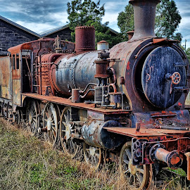 Train relic by Feona Green-Puttock - Transportation Trains ( old, curio, hdr, rusted, train, relic,  )