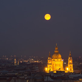 Moon over Budapest by Tracey Dolan - City,  Street & Park  Night