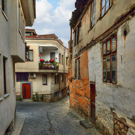 contrast by Branislav Rupar - City,  Street & Park  Street Scenes ( contrast, houses, hdr, former yugoslav republic of macedonia, ohrid, streets, windows, stone wall, nikon, balcony, paving, antiques )