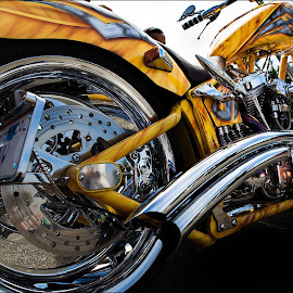 Chopper by Marco Dennis - Transportation Motorcycles ( chrome, motorcycle, chopper, wide, yellow, angle )
