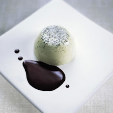 Green Tea & Vanilla Pannacotta With Chocolate Sauce