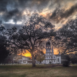 Church sunset by Zeralda La Grange - Instagram & Mobile iPhone ( #landscape, #church, #nature, #iphone, #sunset )