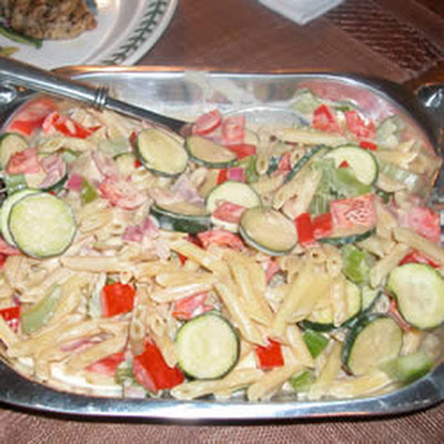 Pasta With Veggies In a Tahini and Yogurt Sauce