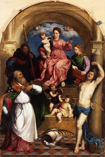 Bordone Paris, Madonna con bimbo e santi