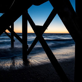 by Tim Mikolajczyk - Landscapes Beaches ( water, sunset, waves, silhouette, pier, ocean, beach,  )