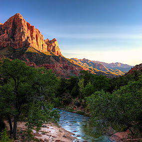 Sunset in Zion by Peter Kennett - Landscapes Travel ( stream, cliffs, desert, park, hdr, utah, sunset, zion, river,  )