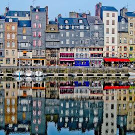 Port of Honfleur by John Gross - Landscapes Travel ( water, reflection, buildinf, colorful, port of honfleur, bots, france )