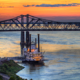 Mississippi Queen by Jeannie Meyer - Buildings & Architecture Bridges & Suspended Structures ( water, riverboat, blue, silhouette, sunset, mississippi river, casino, bridge,  )