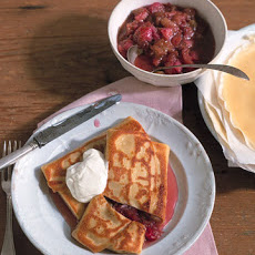 Breakfast Blintzes with Caramelized Rhubarb and Sour Cream