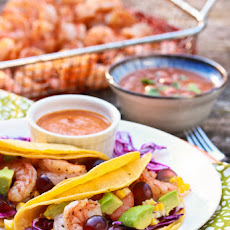 Shrimp Tacos with Grilled Corn Grapes and Creamy Ranchero Sauce
