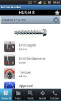 Screenshot of Hilti Anchor Selector