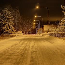 Winter in Sweden in the evening by Åke Algotsson - Landscapes Weather ( sweden, winter, snow, evening )