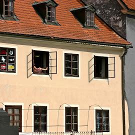 A Street View by Brenda Hooper - Buildings & Architecture Public & Historical ( cesky krumlov, sunny, street, czech republic, windows )