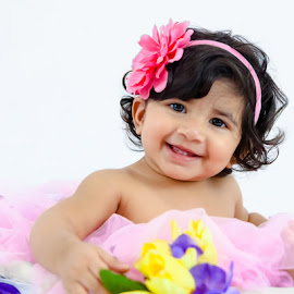 Smiles of Pink by ClickMyPix Photography - Babies & Children Babies ( smiling kid, kid portrait, pink, baby, floral,  )