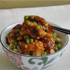 Restaurant Style Chinese Orange Chicken With Spring Peas