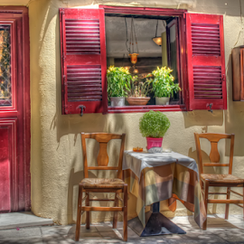 Athens Taverna  by Rick Mann - City,  Street & Park  Street Scenes ( window, chairs, food, greece, cithy, athens, taverna, tavern, table, Chair, Chairs, Sitting )