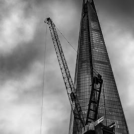 Shard by Greg Brzezicki - Buildings & Architecture Office Buildings & Hotels ( crain, building, b&w, city tower,  )