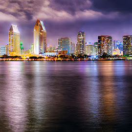 San Diego Skyline by Taylor Sanderson - City,  Street & Park  Skylines ( san diego, skyline, night photography, night, cityscape, city )