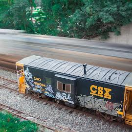 Sitting idle by Michael Wolfe - Transportation Trains ( train tracks, caboose, csx, graffiti, railroad, train, moveing train,  )