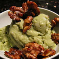 Avocado-Banana Sorbet with Candied Walnuts