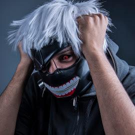 Ghoul by Shaheed Joe-Dewarder - People Portraits of Men ( scary, cosplay, anime, people, halloween )