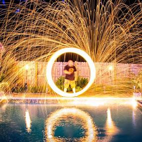 Steel Wool 4th of July by Robert Harmon - Abstract Fire & Fireworks ( water, steel wool, pool, reflections, sparks, fire )
