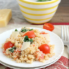Quinoa with Roasted Garlic, Tomatoes and Spinach