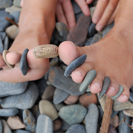 Rocks N Toes by Sheryl Hester - People Body Parts ( rocks in toes,  )