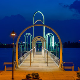 Baton Rouge River Boat Dock by Sheldon Anderson - Buildings & Architecture Other Exteriors ( structure, night photography, baton rouge, sunset, louisiana, dock, river, blue, orange. color,  )