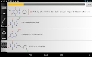 Screenshot of ChemSpider Mobile