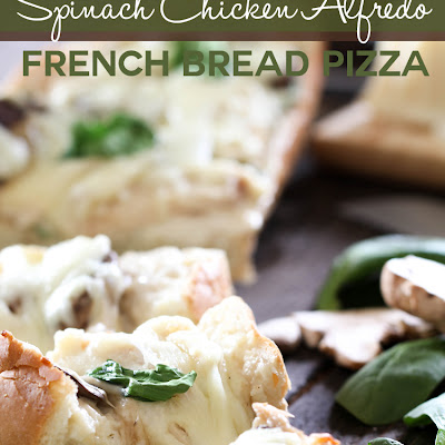 Spinach Chicken Alfredo French Bread Pizza