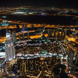 From Top Of The Burj Khalifa by Aamir Munir - City,  Street & Park  Night ( night photography, skylines, burj khalifa )