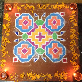 Rangoli drawn during Diwali, Festival of Lights  by Hrushikesh Joshi - Abstract Patterns