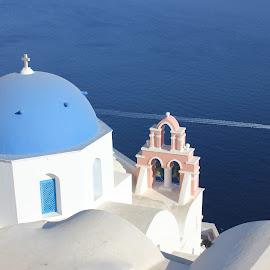 Greece by Neža Kompare - Buildings & Architecture Architectural Detail ( church, sea, oia, boat, santorini,  )