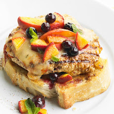Turkey Burger with Peaches and Blueberries