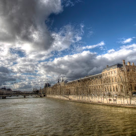 Louvre & Seine by Ben Hodges - City,  Street & Park  Neighborhoods ( seine, paris, louvre, hdr, france, travel, river )