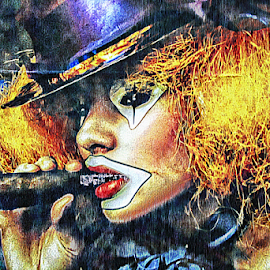 Smoking cool by Luigi Petro - Digital Art People ( cigar, female, clown, smoking, face paint, fine art, entertainer, circus )