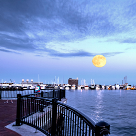 Boston Harbor - Supermoon by Donna Neal - City,  Street & Park  Skylines ( boston harbor, supermoon )