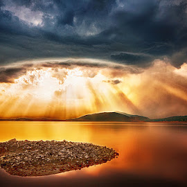 But still they come! by MIhail Syarov - Landscapes Cloud Formations ( water, clouds, orange, sunset, beams, lake, sun,  )